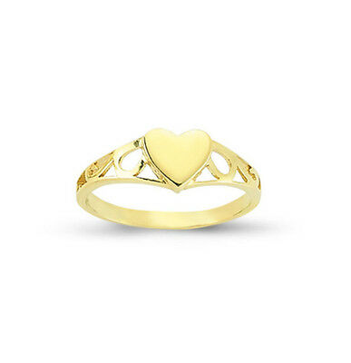 9ct Yellow Gold Half Engraved Child's Heart Shape Signet Ring - Made in England - UK Jewellery BRLoUQ5