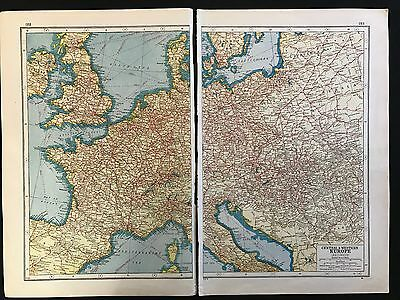 Vintage Map 1920, Central & Western Europe Railways - Harmsworth's Atlas