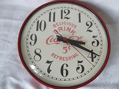 """Vintage Coca-Cola 13 ½"""" Round Red  5 CENT Electric Wall Clock"""