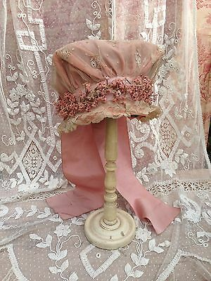 Gorgeous Antique French Pink Lace And Flowers Wedding Bonnet Hat~beautiful!