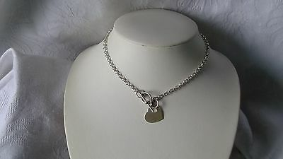 925 Sterling Silver 4 Mm Chain Link T Bar  16 Inch Necklace With Heart Fob