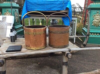 Antique Copper And Brass Coal Bucket. PAIR Of Riveted Log Baskets. Fire Set.