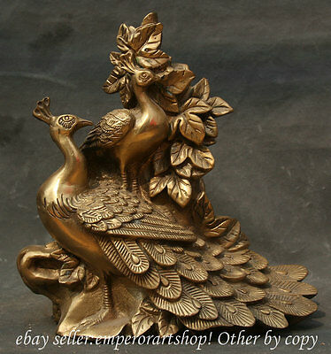 "9"" Chinese Brass Ming Style Vintage Peacock Bird Leaf Deco Sculpture Statue"