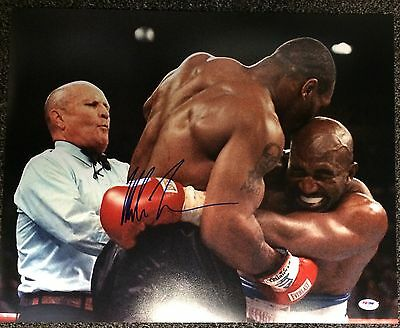 Mike Tyson Signed 16x20 Photo Autographed PSA/DNA COA vs Evander Holyfield