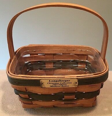 Longaberger 1987 Christmas Collection Mistletoe Basket with Protector