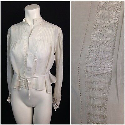 Antique 1910s Edwardian White Sheer Cotton Floral Lace Embroidery Blouse Top M