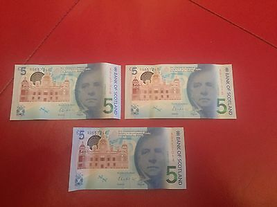 Bank Of Scotland £5 Note X3 In Sequence AB
