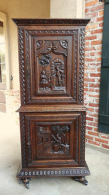 Antique FRENCH Carved Oak Cabinet Bookcase Bonnetiere Breton Brittany SLIM