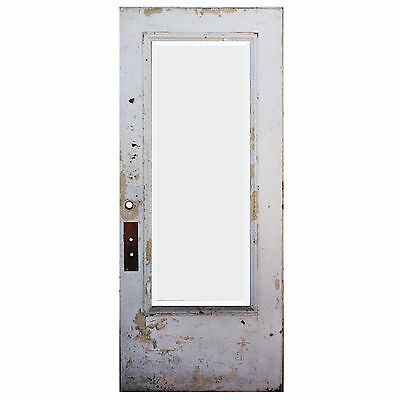 """Salvaged Antique 36"""" Door with Beveled Glass, Egg-and-Dart, NED601"""