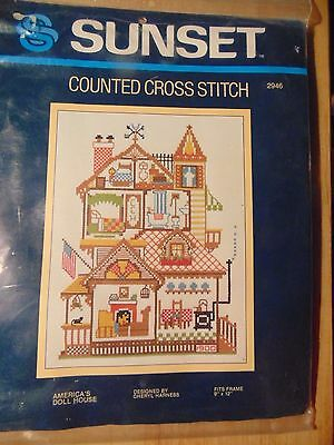Counted Cross stitch kIT AMERICA'S DOLL HOUSE ~ Fits 9  X 12 Frame ~ KS6