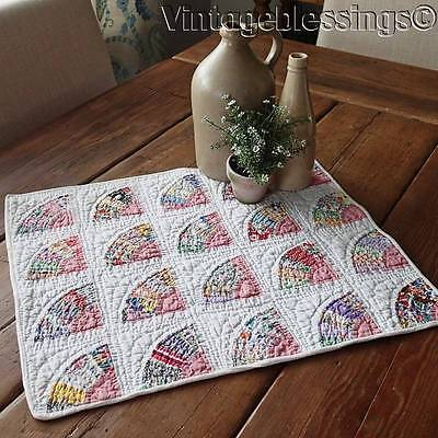 So Lovely Small Scale FANS Vintage 30s Doll or Table QUILT