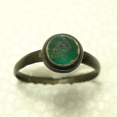 Lovely Old Ring With Green Glass c 1700-Detecting Find