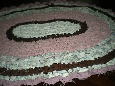 Crochet oval rag rug, mat, ,mauve and pink with brown . Bath, cottage, country