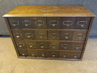 Antique c1896 Solid Oak 24-Drawer Office File Cabinet  Acers-Renfrow Chicago IL