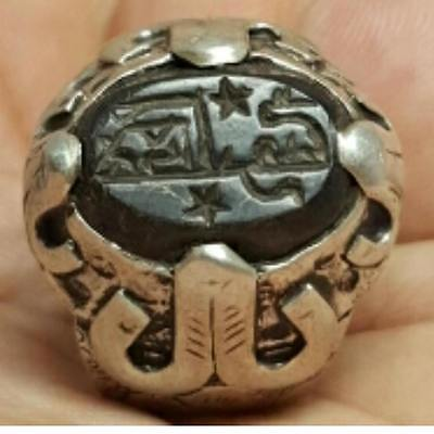 Very Old islamic inscription Stone Solid Silver Ring # i