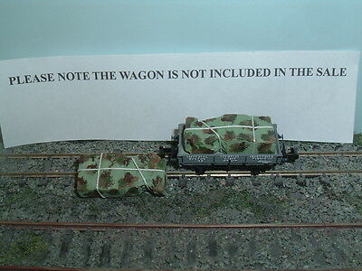 Two N imitation Camouflaged load for Graham Farish 3 plank wagon size