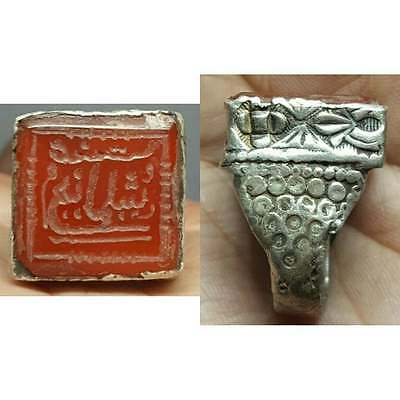 islamic inscription Old Writing Agate stone Solid Silver Ring # i