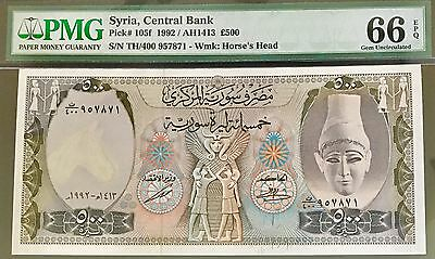 Syria Banknote 500 Liras (1992). Graded By PMG (66) Uncirculated