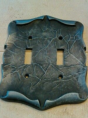Vtg Amerock Carriage House Double 2 Toggle Switch Plate silver pewter Color