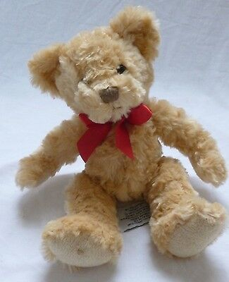 10″ Russ Brown Soft Teddy Bear with Red Ribbon : Christmas Present