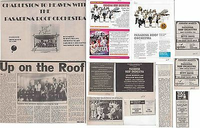 PASADENA ROOF ORCHESTRA : CUTTINGS COLLECTION -adverts interview-