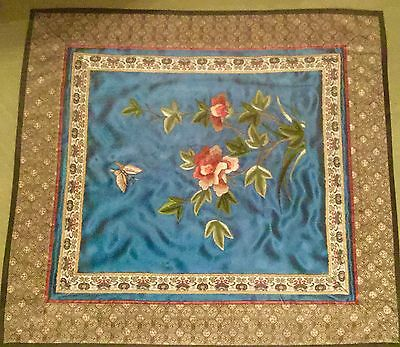 Chinese Embroidered Square Textile - Framed