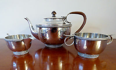 Arts & Crafts influenced Jacobean Silver Plated Tea Set (Connell, 83 Cheapside)