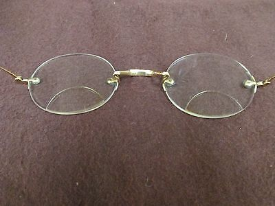 Vintage Antique Wire Rimless Spectacles Bifocal Eyeglasses Stamped ?