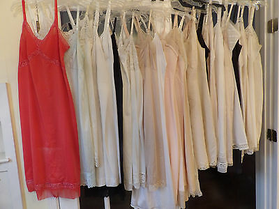 Lot of 27 Vintage NYLON Full Slips Pleats & Lace Silky Soft Excellent USA made