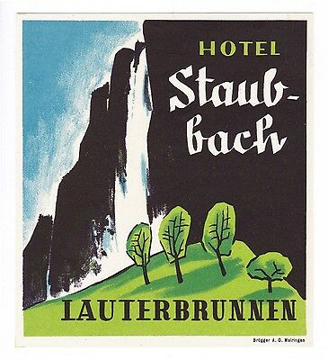 Hotel Staubbach LAUTERBRUNNEN Switzerland luggage label Kofferaufkleber  BRÜGGER