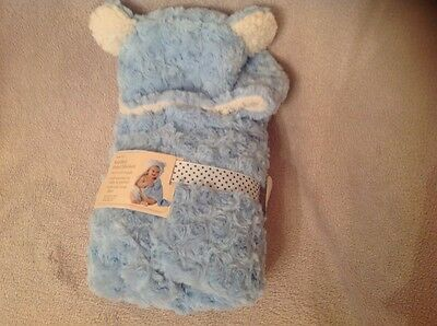 Beautiful New George Cosy Blue Hooded Shawl /Baby Blanket