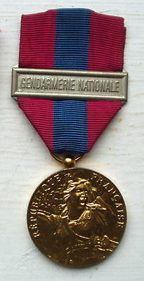 GENDARME'S GILDED SERVICE MEDAL, WITH BAR & ORIGINAL RIBBON, FRENCH,VG Condition