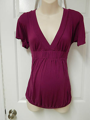 duo maternity purple top M medium short sleeve SOFT!
