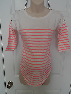 seraphine maternity nursing top US 4 S small pink striped white current style