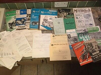 Large Collection Of Motorcycle And Speedway Ephemera 1950s