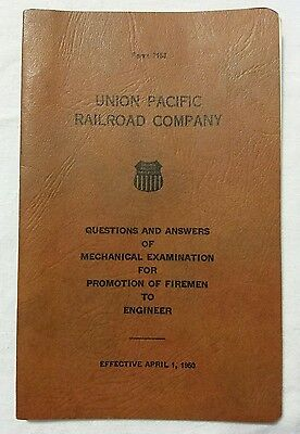 UP Union Pacific Railroad Co. Questions Answers Exam Firemen Engineer Book 1950