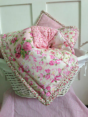 Sweet Floral Blossoms 100% Cotton Baby girl cot cotbed quilt blanket gift NEW