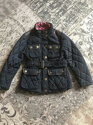 Girls Navy Blue Quilted Jacket With Belt Age 5-6