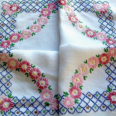 Vintage Hand Embroidered White Linen Table Cloth 43X44 Inches