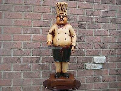 """Huge 30"""" Tall Chubby Chef Cook  With Skillet Pan Statue Restaurant Kitchen"""