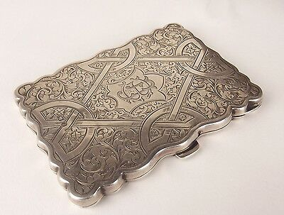 Beautiful English Antique Victorian 1898 Solid Silver Calling Card Case