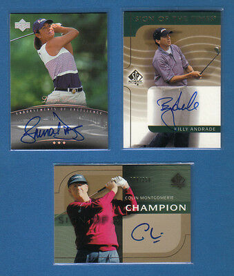 (3) Golf Cards Autograph Certified -Colin Montgomerie, Billy Andrade, Laura Diaz