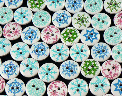 80 x 15mm Round Wooden * Snowflake * Christmas Buttons - Crafts, Sewing & More