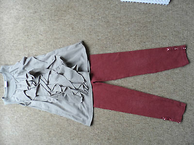 Next taupe long line frill front vest and claret heart button leggings age 5