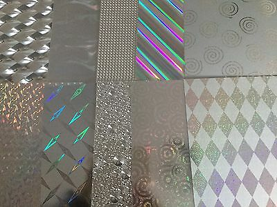 10 A4 Sheets Silver Mirri/foil/holographic Card