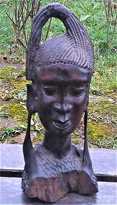Antique Ebony Wood Carved African Statue / Sculpture / Bust