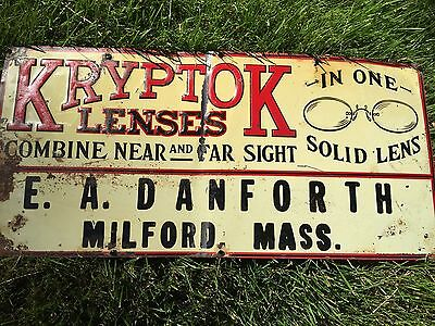 Antique Vintage Kryptok Lenses Embossed Tin Sign Country Store Scarce