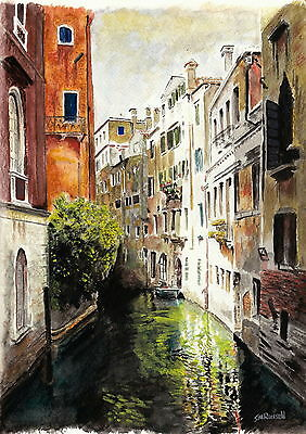 Venice Reflections Signed S Russell Art Print of original Watercolour Painting