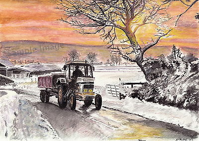 David Brown Tractor Signed S Russell Art Print of original Watercolour Painting