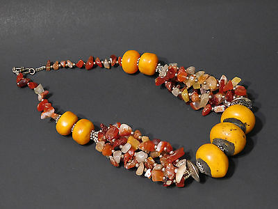 Moroccan Carnelian stone beads with Atlas Berber resin beads ethnic Necklace